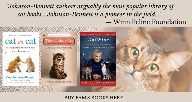 books by author Pam Johnson-Bennett and a quote from Winn Feline Foundation