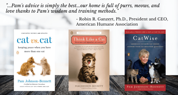 three books by Pam Johnson-Bennett and a quote from AHA