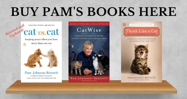 three books by pam johnson-bennett on a bookshelf